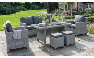 Kettler Palma Casual Dining Sofa Set with Glass Top Table