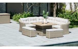 Lifestyle Martinique Corner Casual Dining Set with Benches